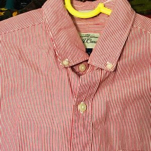 J Crew 2 Ply Button Down Shirt Red Striped Men's S